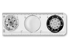 Kompass m. Massstab+Thermometer, Blister