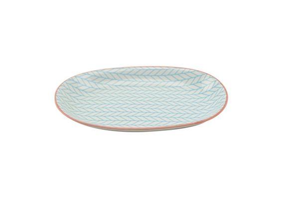 Ovale Platte blau L23.5cm Rand rot