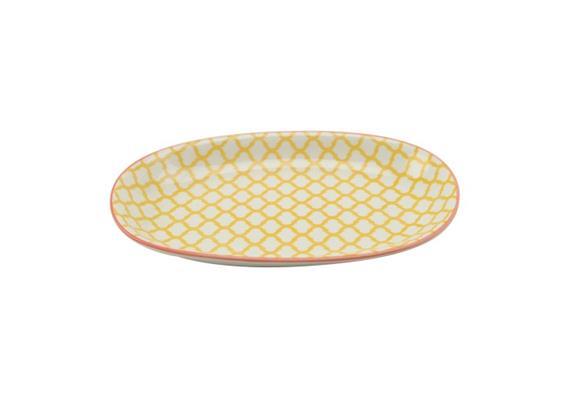 Ovale Platte gelb L23.5cm Rand rot