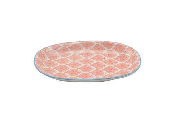 Ovale Platte rot L23.5cm Rand blau