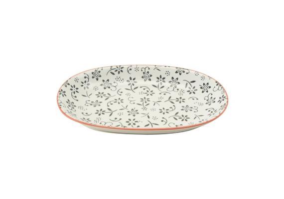 Ovale Platte schwarz L23.5cm Rand rot