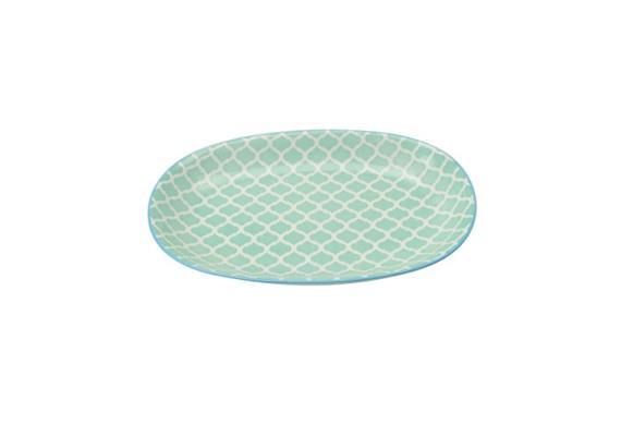 Ovale Platte türkis L23.5cm Rand blau