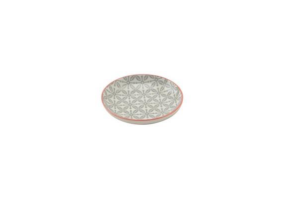 Schale grau 10cm Rand rot