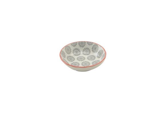Schale grau 9cm Rand rot