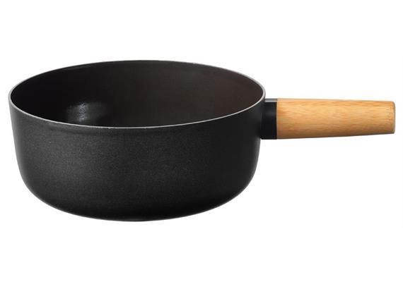 Stöckli Emotion Käsefonduecaquelon mit Holzgriff 21 cm schwarz