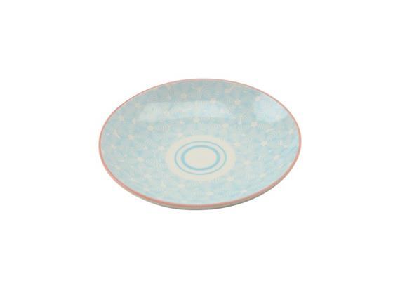 Teller blau 21.5cm Rand rot