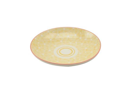 Teller gelb 21.5cm Rand rot